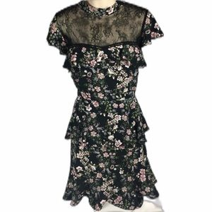 NWT ONE ONE SIX Floral Print Lace High Neck L